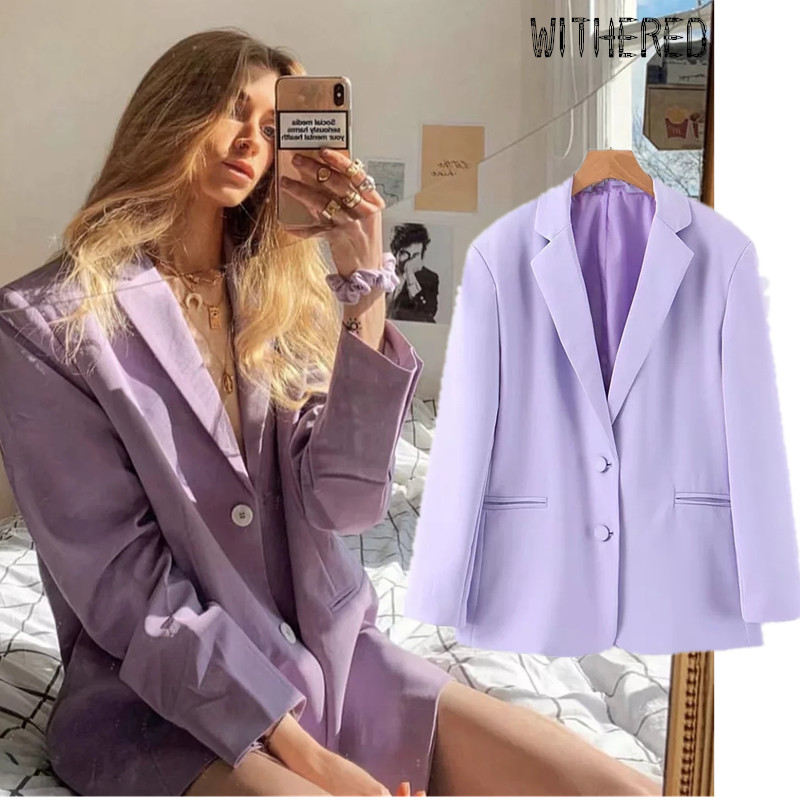 Withered Fashion Blogger Vintage Solid Purple Oversize Blazer Feminino Blazer Mujer 2019 Women Blazers And Jackets 2 Pieces Set