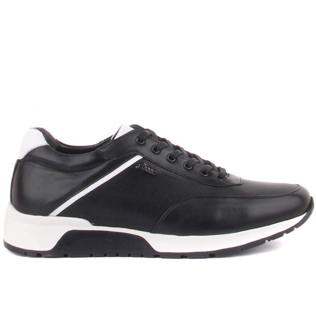 Fosco-sapatos casuais masculinos de couro preto com cadarço