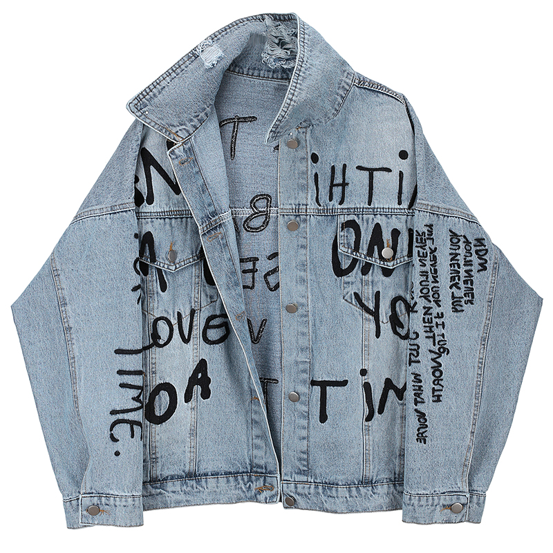 Letter Print Jeans Coat Women Spring 2020 New Style Fashion Retro Hong Kong Flavor Loose-Fit Frayed Washing Denim Jacket