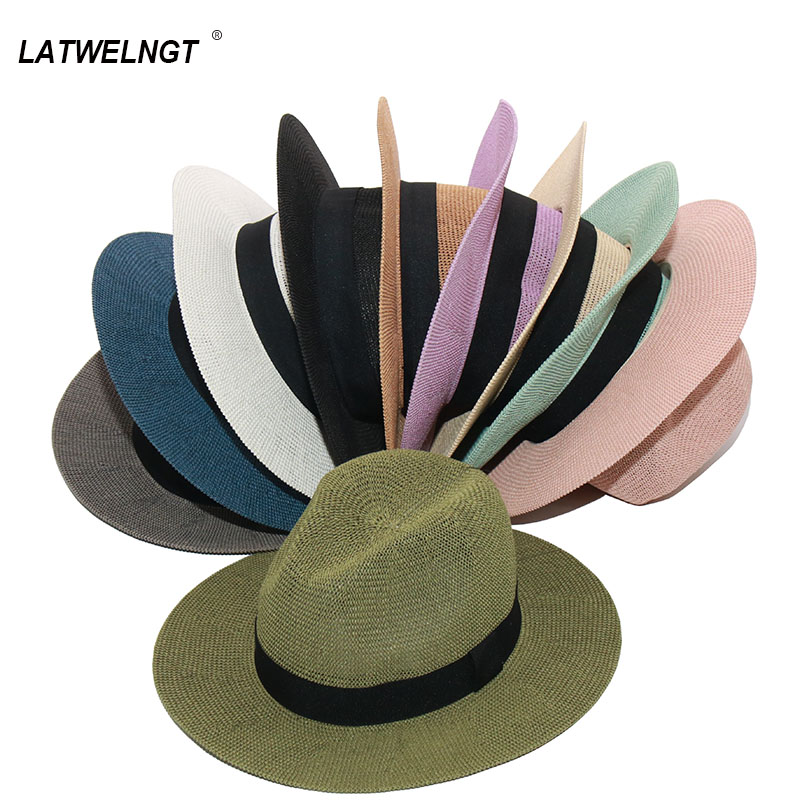 Wholesale Summer Panama Hats For Women Fashion Colorful Jazz Beach Hat Cooling Ladies Summer Straw Hat S1068