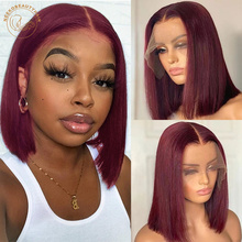 Red Bob Lace Front Wig 13X4 Colored Human Hair Lace Frontal Wigs Ombre 1B 27 Honey Blonde Ginger Burgundy 99J Short Bob Wigs cheap NeekoBeauty Straight Lace Front Wigs Lace Closure Wig BR(Origin) Remy Hair Half Machine Made Half Hand Tied Darker Color Only