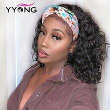 YYong Hair-peluca y bufanda de cabello humano para mujer, cabellera suelta y protectora de ondas profundas, 100%, no se puede teñir, con encaje
