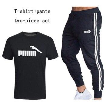 Tracksuit Men's Sets Short Sleeve T Shirts+pants Two Pieces Sets Casual Stripe Patchwork Sportpants Brand Print Suits Sportwear