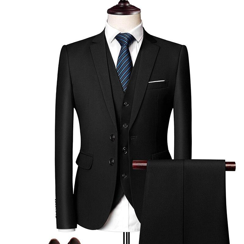 2019 New Men Formal Suits Pure Color Men Blazer Jacket + Vest + Trousers  4XL 5XL 6XL Men Wedding Suits Comfortable And Elegant