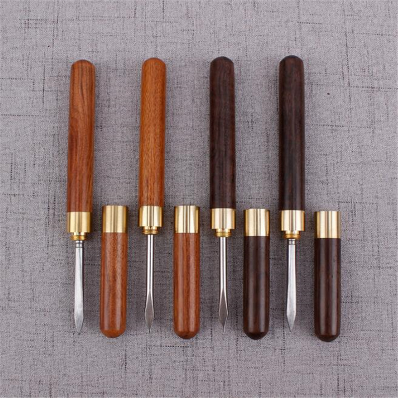 Creative Sandalwood Stainless Steel Tea Knife Pu Er Dedicated Tea Needle Tea Accessories Kung Fu Teasets Spiral Tea Knife
