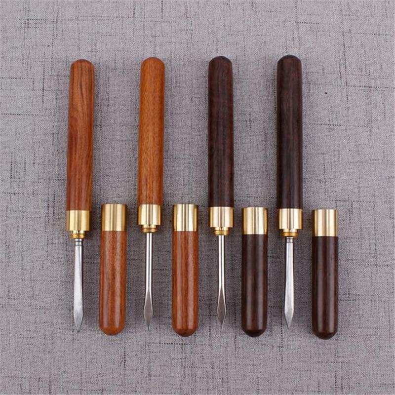 Creative Sandalwood Stainless Steel Tea Knife Pu Er Dedicated Tea Needle Tea Accessories Kung Fu Teasets Spiral Tea Knife