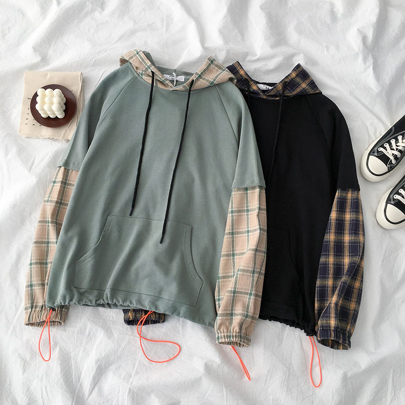 BF Style Patchwork Sweatshirt Women Casual Long Sleeve Hooded Plaid Fashion Pullover Female Cotton Black Pocket Cotton Tops