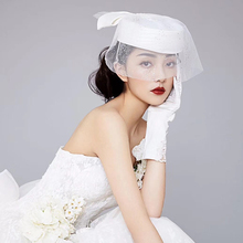 Women Elegant white big bowknot veil Fascinator Hat Cocktail