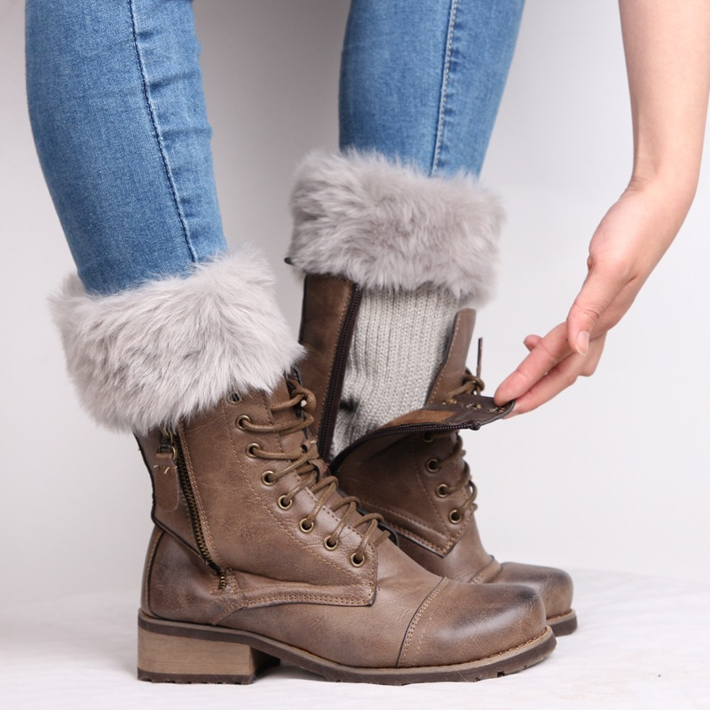 Women Lady Winter Leg Warmers Crochet Knit Fur Trim Leg Boot Socks Toppers Cuff