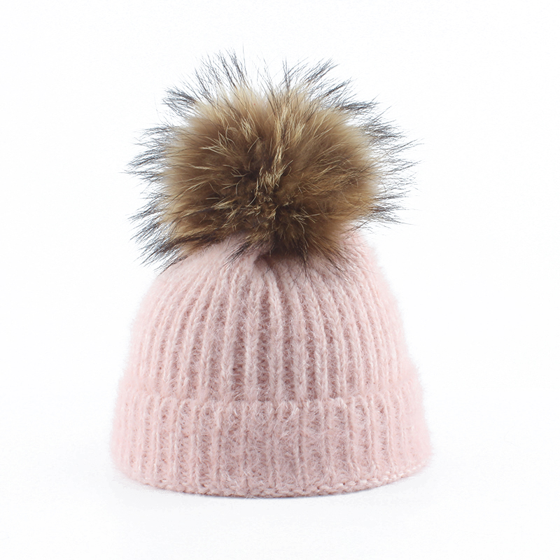 Angola Rabbit Fur Knitted Hat With Real Fur Pom Pom Hat Skullies Beanie Winter Hat For Women Girl 's Hat Female Cap