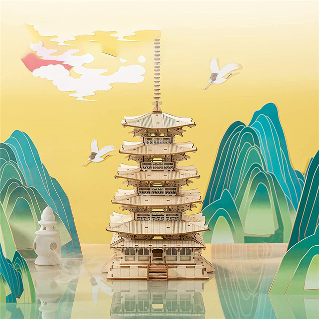 Robotime Rolife 275pcs DIY 3D Five-storied Pagoda Wooden Puzzle Game Assembly Constructor Toy Gift for Children Teen Adult TGN02 2