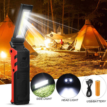 Garage USB Rechargeable LED Work Light Dimmable Flashlight Magnetic Inspection Lamp with Hook Power Bank 2000mAh 18650 Battery