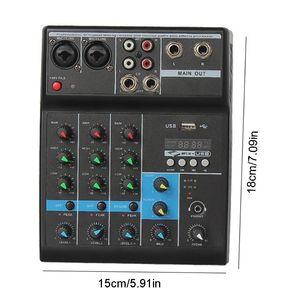 O misturador audio profissional 4 canaliza o console de mistura de som de bluetooth para o karaoke