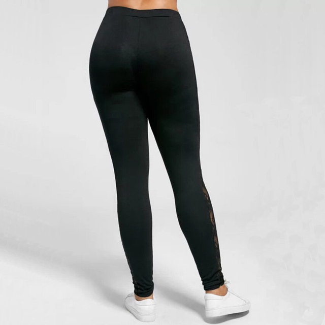 Plus Size L-3XL Sexy Women Lace Pants Black Insert Sheer Leggings Elastane Leggings 5
