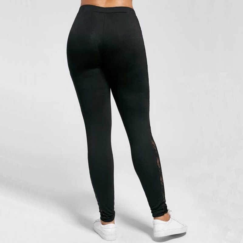 Plus Size L-3XL Sexy Vrouwen Kant Broek Zwart Insert Sheer Leggings Elastane Leggings