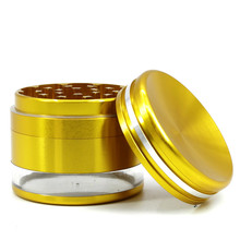 Big Herb Grinder 4 Layer Weed 63mm Tobacco Crusher Accessories Bottom Transparent The Top Is Concave Can Hold
