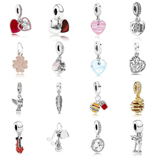 Glass Kakany Jewelry Pendant Charm Heart-Shaped 100%925-Sterling-Silver Pink And 1:1-Spirit-Feather