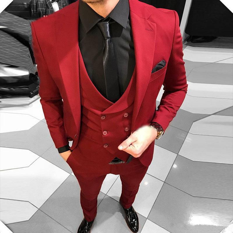 Men Suit Red Notched Lapel Wedding Suits Evening Party Prom Bridegroom Custom Made Slim Fit Casual Three Pieces Best Man Tuxedos