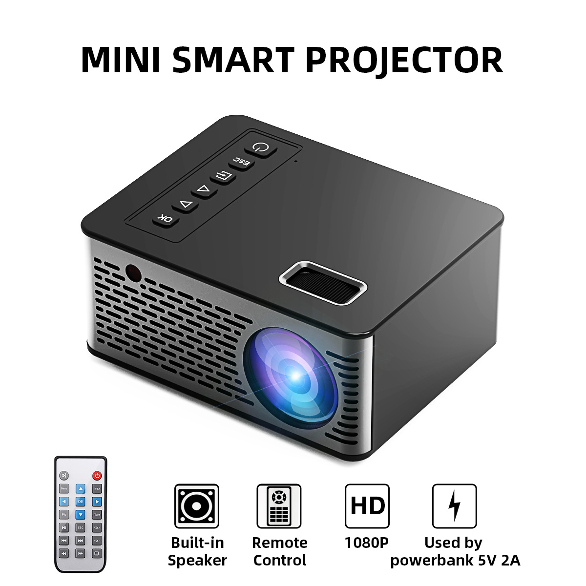 UNIC UC26 Mini Supporto Proiettore 1080P Proiettore Full HD LCD LED Proiettore Home Theater 600 Lumen Outdoor Home HDMI /USB/AV title=