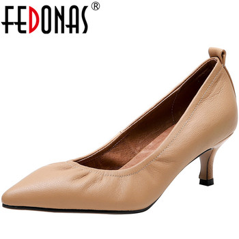FEDONAS New Point Toe Shoes Women Pumps Spring Summer Party Wedding Fine Heels Genuine Leather Elegant Woman - discount item  48% OFF Women's Shoes