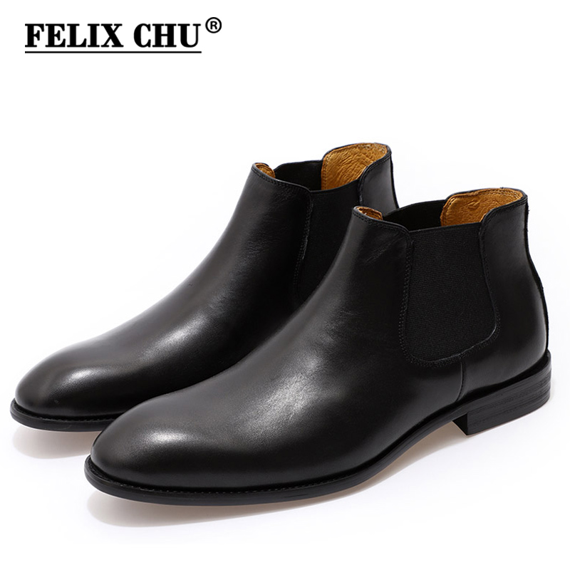 FELIX CHU 2019 Genuine Leather Chelsea Boots Mens Slip-On Plain Toe Black Ankle Boot Men's High Top Dress Shoes Street Fashion