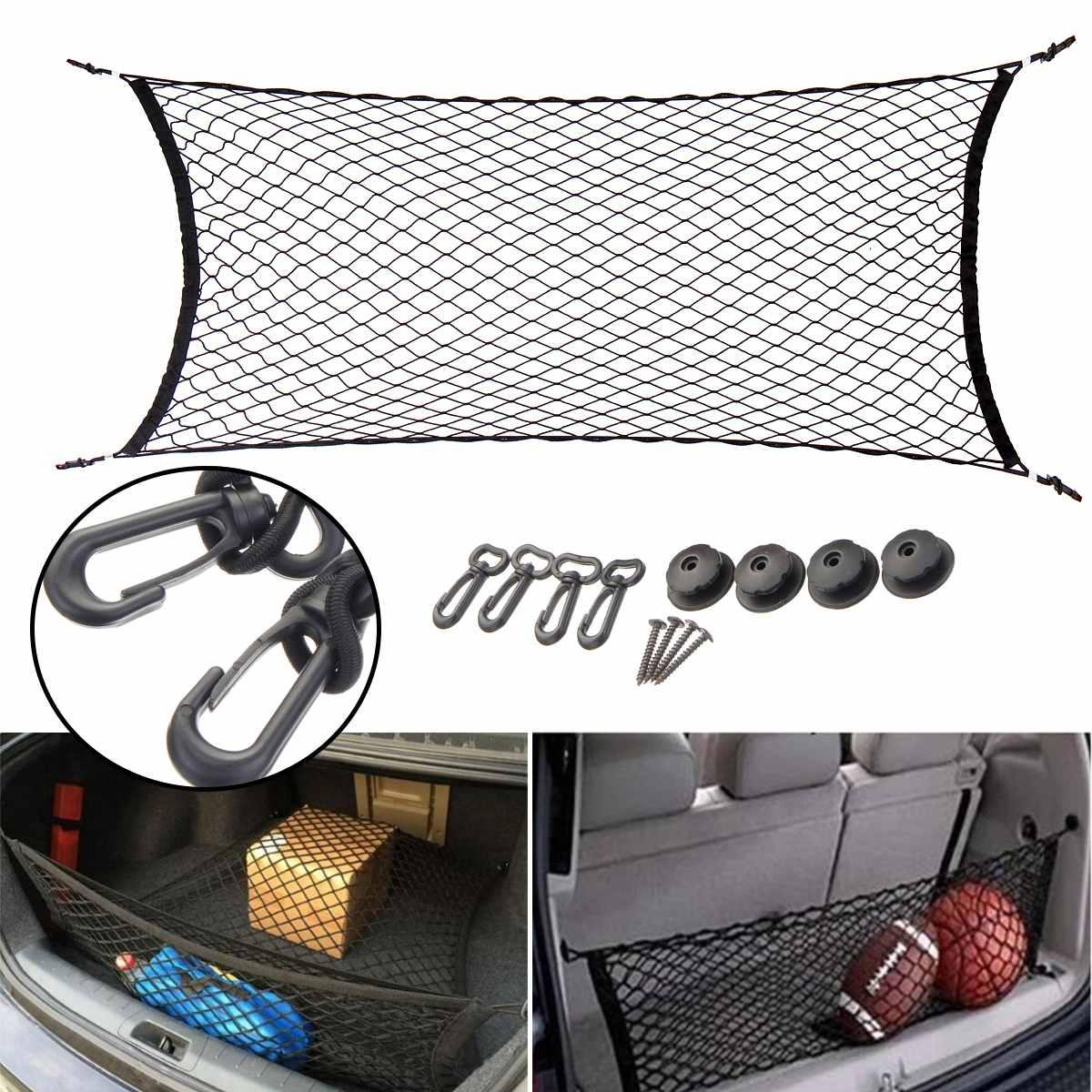 Car Trunk Nets 110 X 50 Cm Elastic Strong Nylon Cargo Luggage Storage Organizer Net Mesh With Hooks