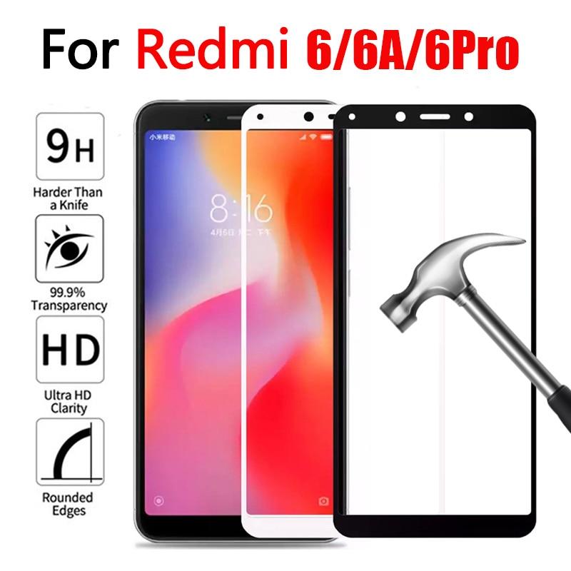 9H Protective Glass On For Xiaomi Redmi 6 6A 6 Pro Tempered Glass For Redmi6 Pro 6pro Redmi6 A Screen Protector Full Cover Film