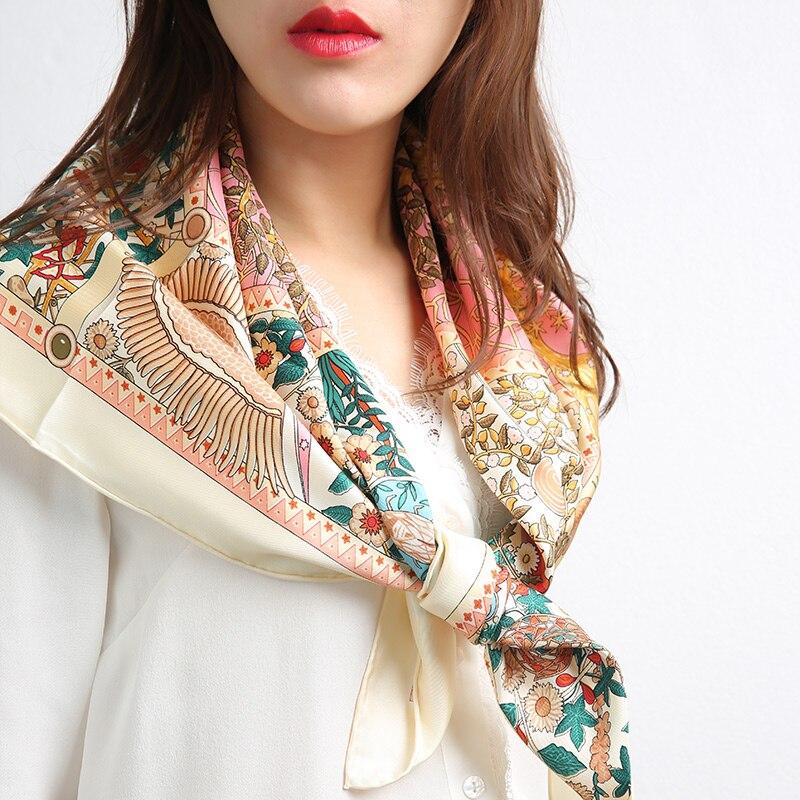 Charming Type 100% Silk Scarf Hijab Head Scarves Women Square Silk Shawl Foulard