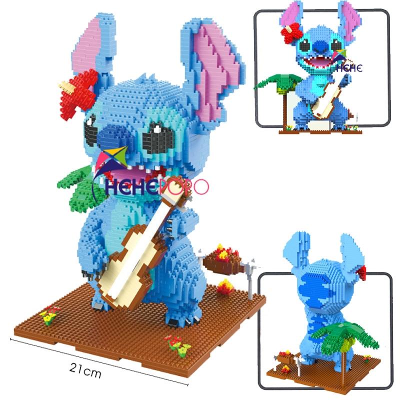 2882pcs+ 1044 Brainlink Toys Magic Block Cute Wink Guitar Stitch Diamond Mini Block Cartoon Model  Building Assemble Toy