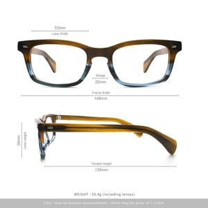 Image 4 - Classic Eyeglasses Frames Acetate Men Prescription Glasses Retro Myopia Glasses Patchwork Designer Optical Frames Eyewear 617g