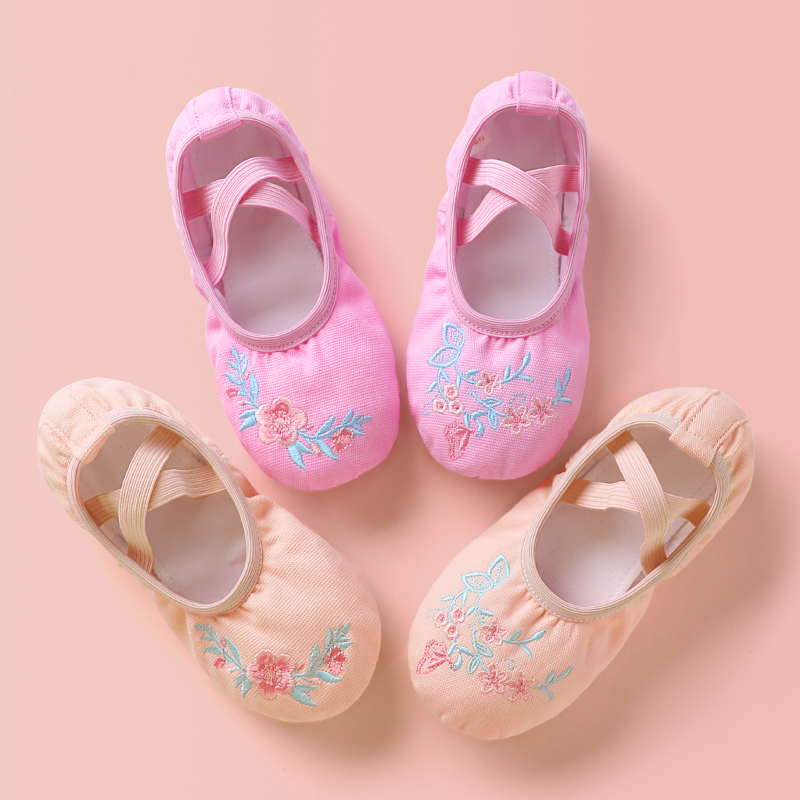 Kids Dance Embroidery Flower Ballet Shoes Children Girls Professional Canvas Soft Sole Shoes For Ballet