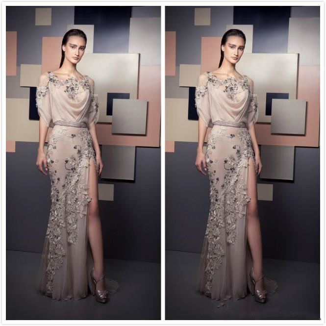 Fast Shipping Lace Appliques Beaded 2020 Spaghetti Sheath Sexy Prom Dresses High Split Formal Bridesmaid Pageant Prom Gowns