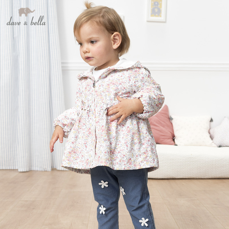 db12946 dave bella primavera bebe meninas bonito ziper floral arco ruched com capuz casaco criancas topos