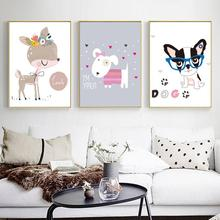 Nursery Canvas Painting Nordic Style Decorative Paintings Childrens Room Kindergarten Frescoes Cute Cartoon Animal Wall Art