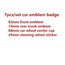 7 pçs/set Capô Dianteiro Emblema 82mm + 74mm + Tampa do Cubo Da Roda Emblema Traseiro 68mm + volante adesivo 45mm