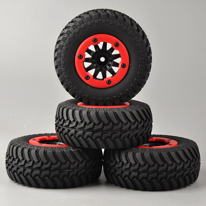 4pcs/set 1:10 Short Course Truck Tires&Bead-Lock Wheel 12mm Hex TRAXXAS Slash RC Car