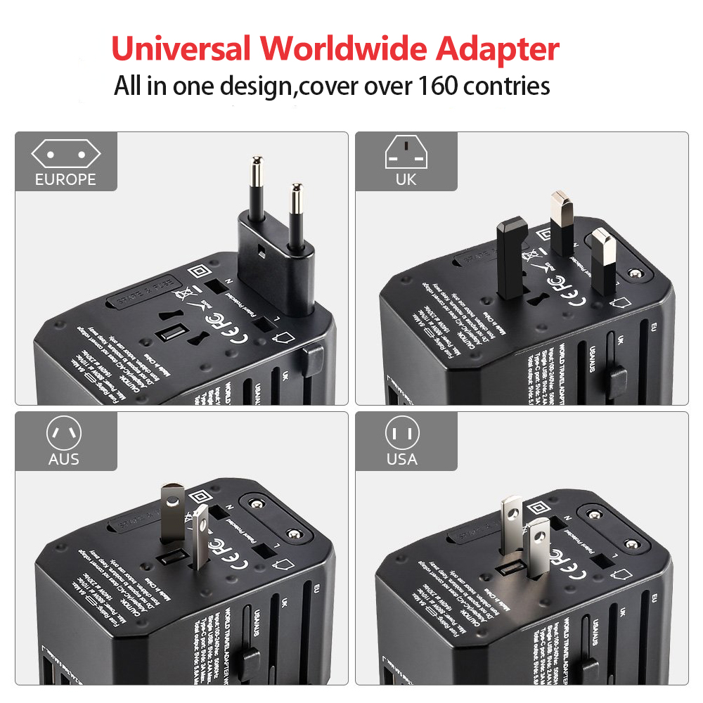 Image 2 - Rdxone Travel Adapter International Universal Power Adapter All in one with 5 USB Worldwide Wall Charger for UK/EU/US/AsiaInternational Plug Adaptor   -