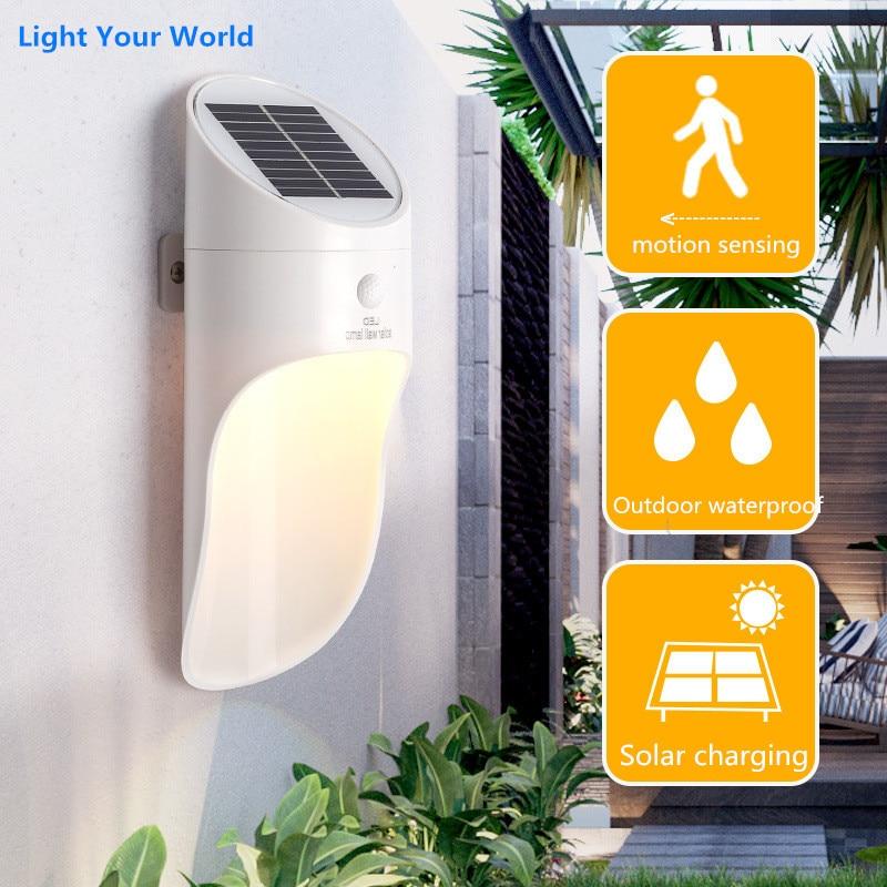 luzes solares ao ar livre sensor de movimento noite seguranca lampada parede poupanca energia a prova