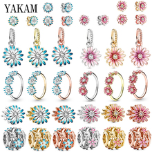 Enamel Daisy Flower Charm Fit Original Pandora Charms Bracelet Daisies Beads for Jewelry Making Pendant Neckalce Women Rings Set charms blue daisy flower charm 100