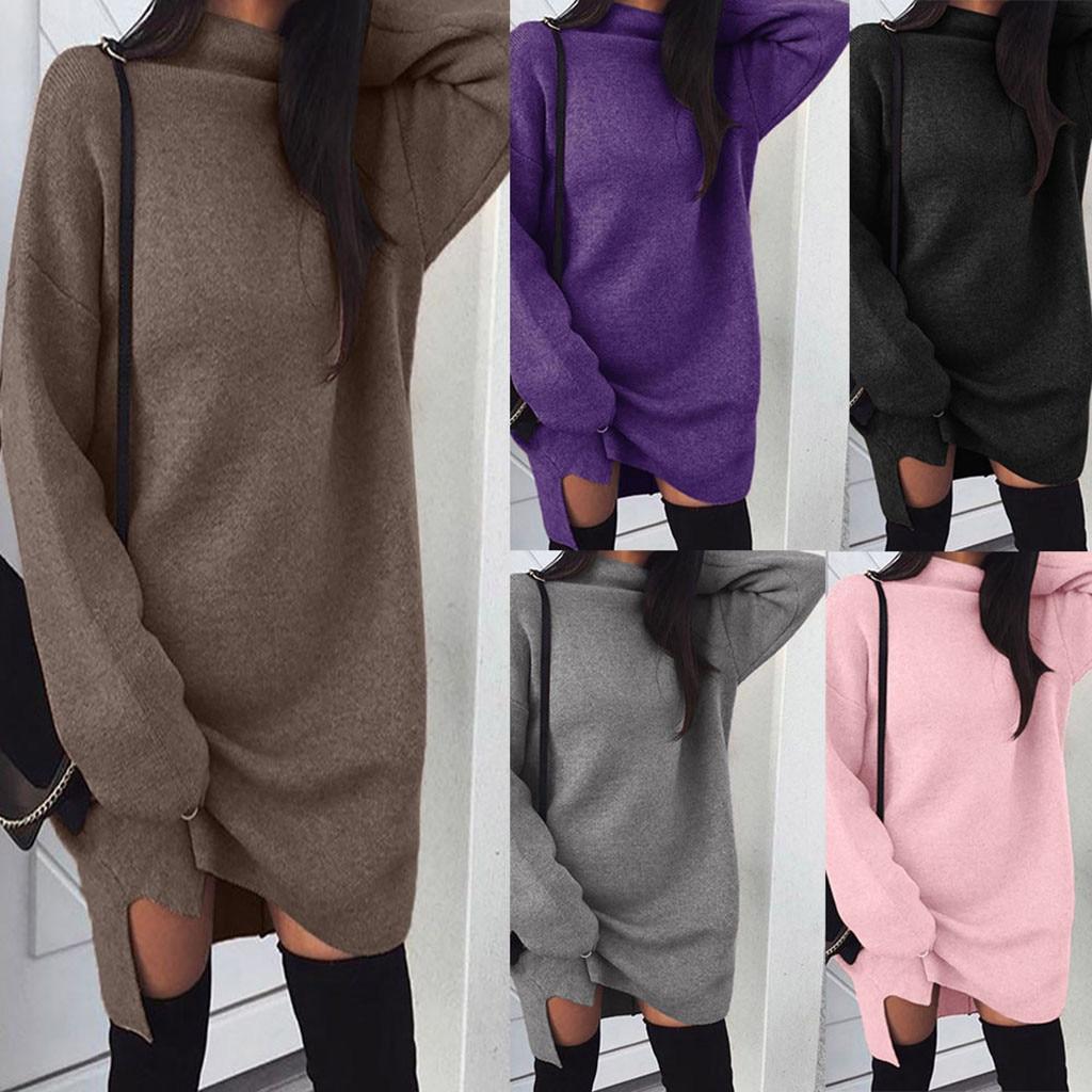 Sweaterdress 2019Top Women Casual Turtleneck Long Sleeve Mini Dress Evening Party Autumn Sweater Wool Dress