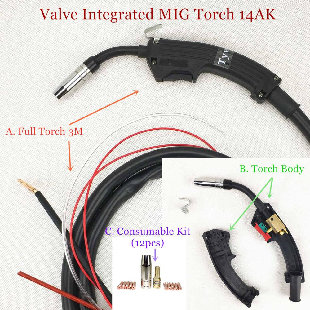 Valve Integrated 15AK MIG Welding Torch MIG Torch MAG Welding Gun Air Cooled 14AK Torch