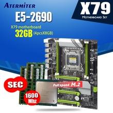 atermiter X79 Turbo motherboard LGA2011 ATX combos E5 2690 CPU 4pcs x 8GB = 32GB DDR3 RAM 1600Mhz PC3 12800R  PCI E NVME M.2 SSD