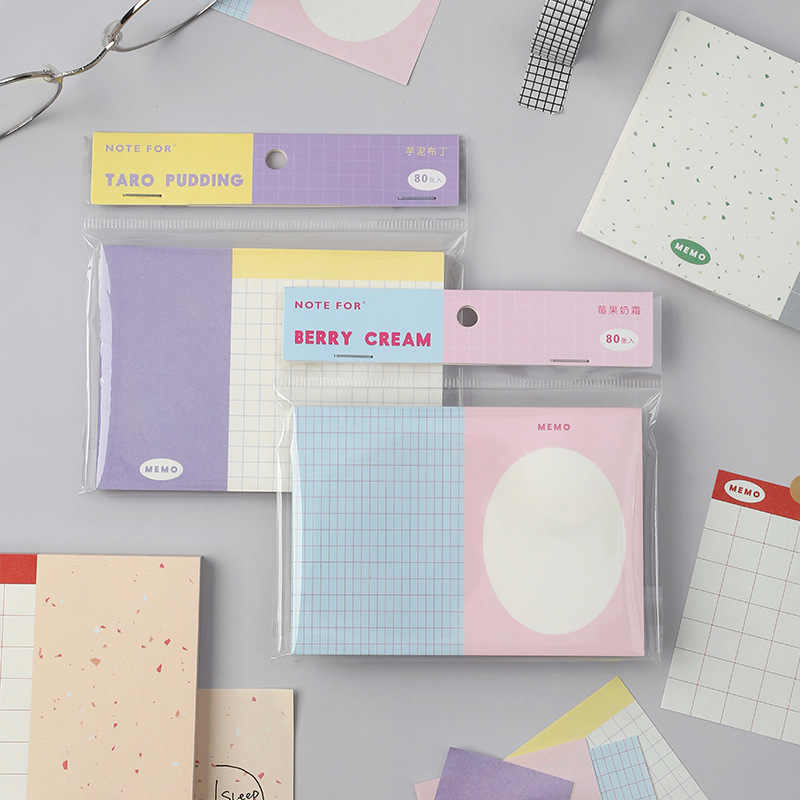 80Pcs Kawaii Memo Pad Check Lijst Sticky Notes Briefpapier Merkt Draagbare Memo Diy Te Doen Lijst Planner Notepad School office Supply