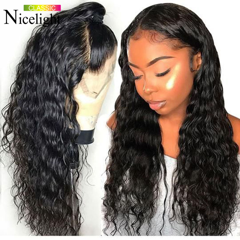 Nicelight Hair Deep Wave Wig 4X4 Closure Wig Lace Wigs Brazilian Remy Natural Color Wigs Deep Wave Human Hair Wigs Closure Wig