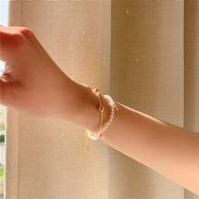 Korean Sweet Crystal Heart Double Layers Simple Bracelet For Women Girls Classic New Fashion Jewelry Gifts classic heart pattern bracelet for women