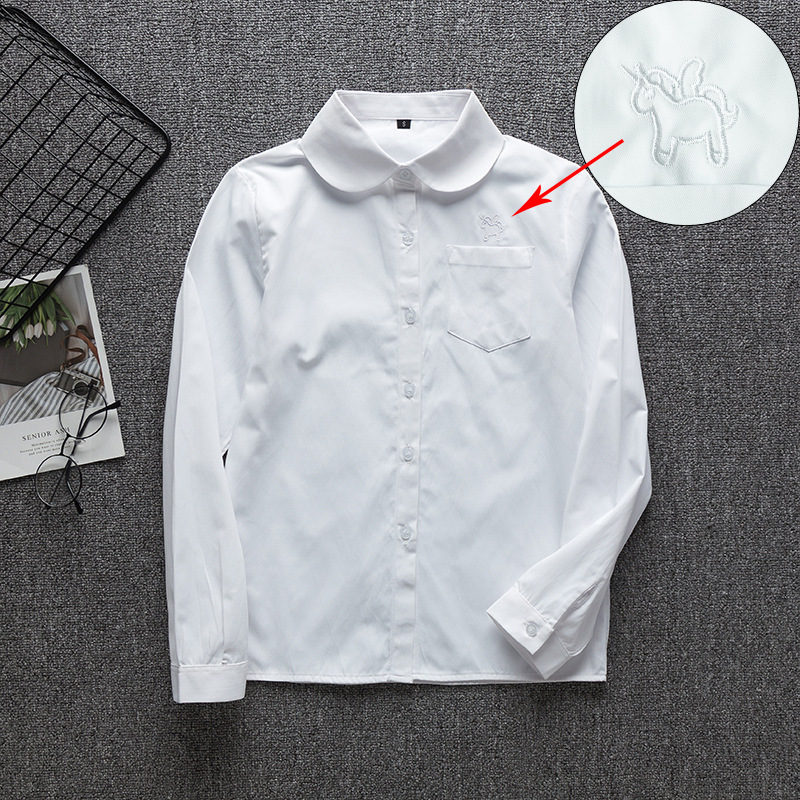 School Uniforms Long Sleeve White Shirt Women Japanese Student Girls And Boys Uniform Top Large-Size XS-5XL Unicorn JK Uniform