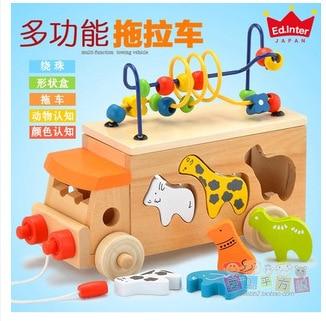Exportation bouche jour Animal Bus perle labyrinthe chariot enfants éducatifs petite enfance jouets en bois perle-cordage jouet remorque jouet