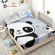 Liv-Esthete Cartoon Panda Baby 100% Cotton Fitted Sheet Gray Mattress Cover Bed Linen On Elastic Band For Adult Child