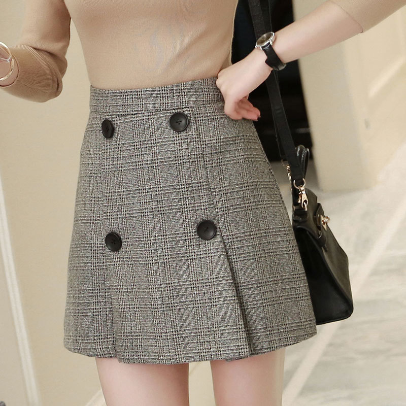 2019 Autumn And Winter New Style Korean-style Plaid Sheath Woolen Short Skirt High-waisted Slimming Button Skirt WOMEN'S Dress