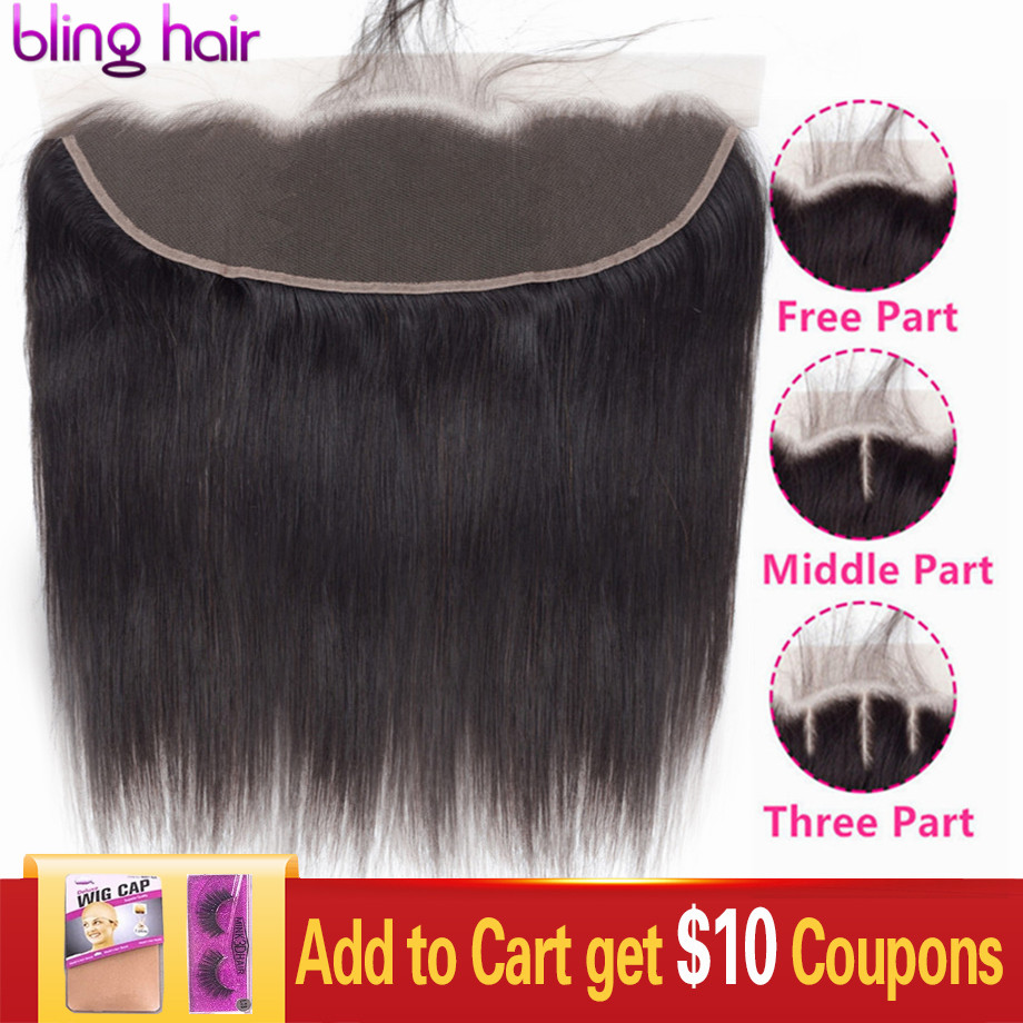 Bling Hair Transparent Lace 13x4 Lace Frontal Closure Brazilian Straight Human Hair Closure 4x4 Lace Closure Remy Hair 8-22 Inch